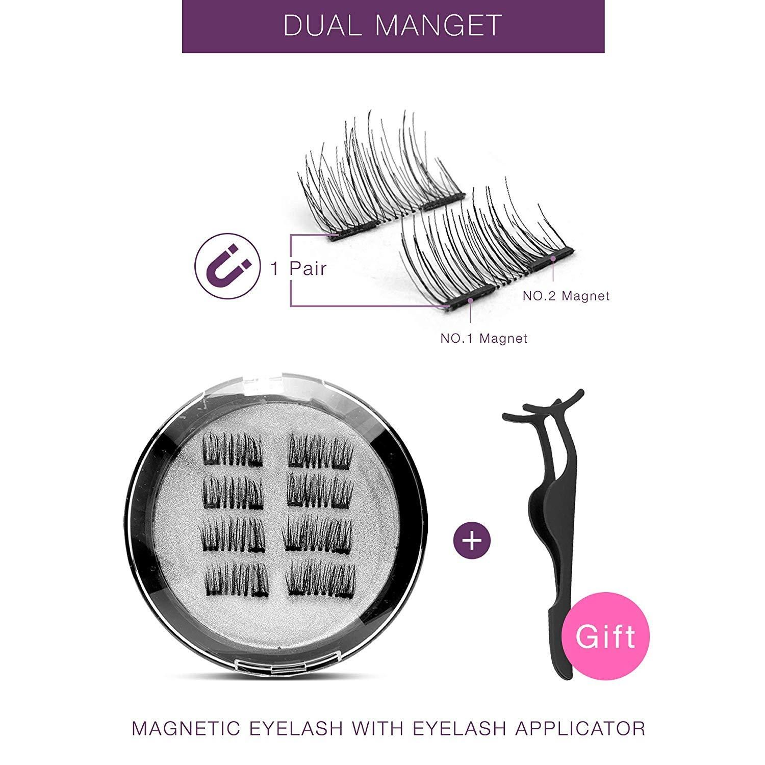 b4dab2357b0 3D Reusable Dual Magnetic Eyelashes with Applicator, New Version in ...