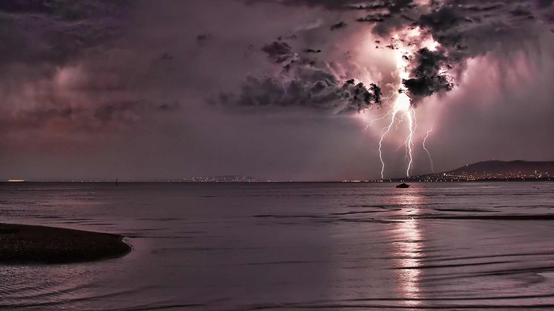 Storm Lightning Dark Clouds Sea Night