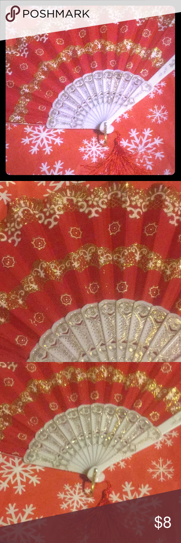 Red & Gold Handheld Fan 🎁Great Gift Excellent Condition 🎁New 🎉bundle to save 20% Accessories