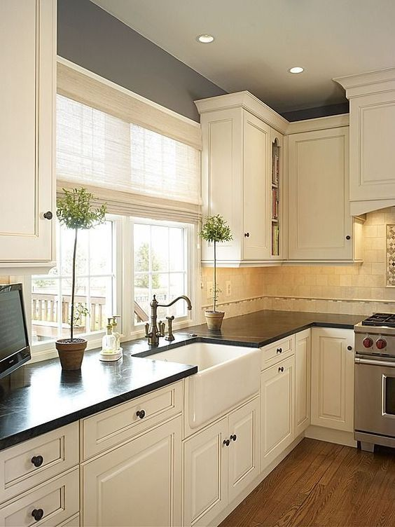 Farmhouse Traditional Country Soapstone Raised Panel Lshaped Simple L Shaped Country Kitchen Designs Design Inspiration