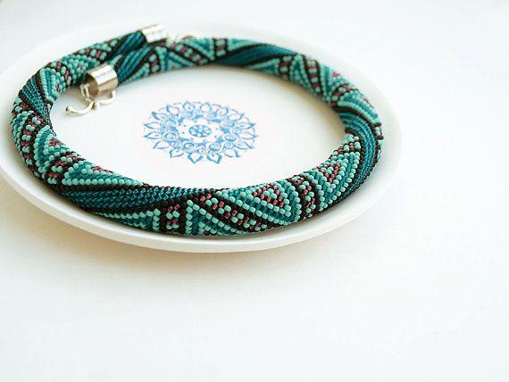 Bead Crochet Necklace Gypsy Jewelry Boho Jewelry Bohemian Necklace ...