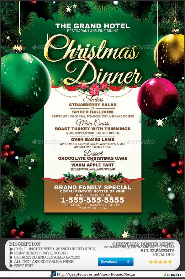 Christmas Dinner Menu Christmas dinner menu, Menu and Dinners - free christmas dinner menu template