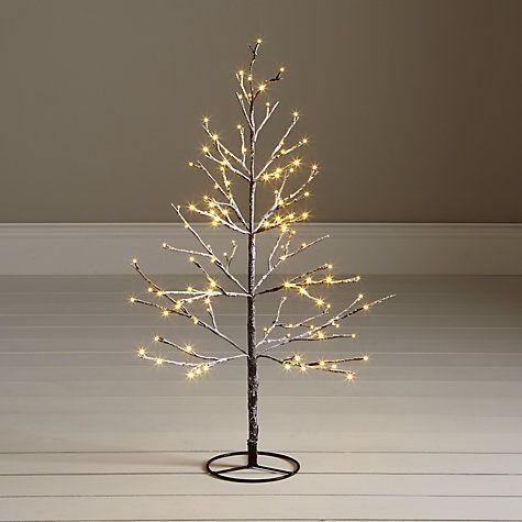Buy John Lewis Pre-Lit Snowy Twig Christmas Tree, White, 4ft ...