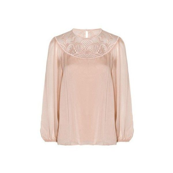 Temperley London Maxime Blouse ($404) ❤ liked on Polyvore featuring tops, blouses, pink, special occasion tops, embroidery blouses, embroidered top, holiday blouses and cocktail tops