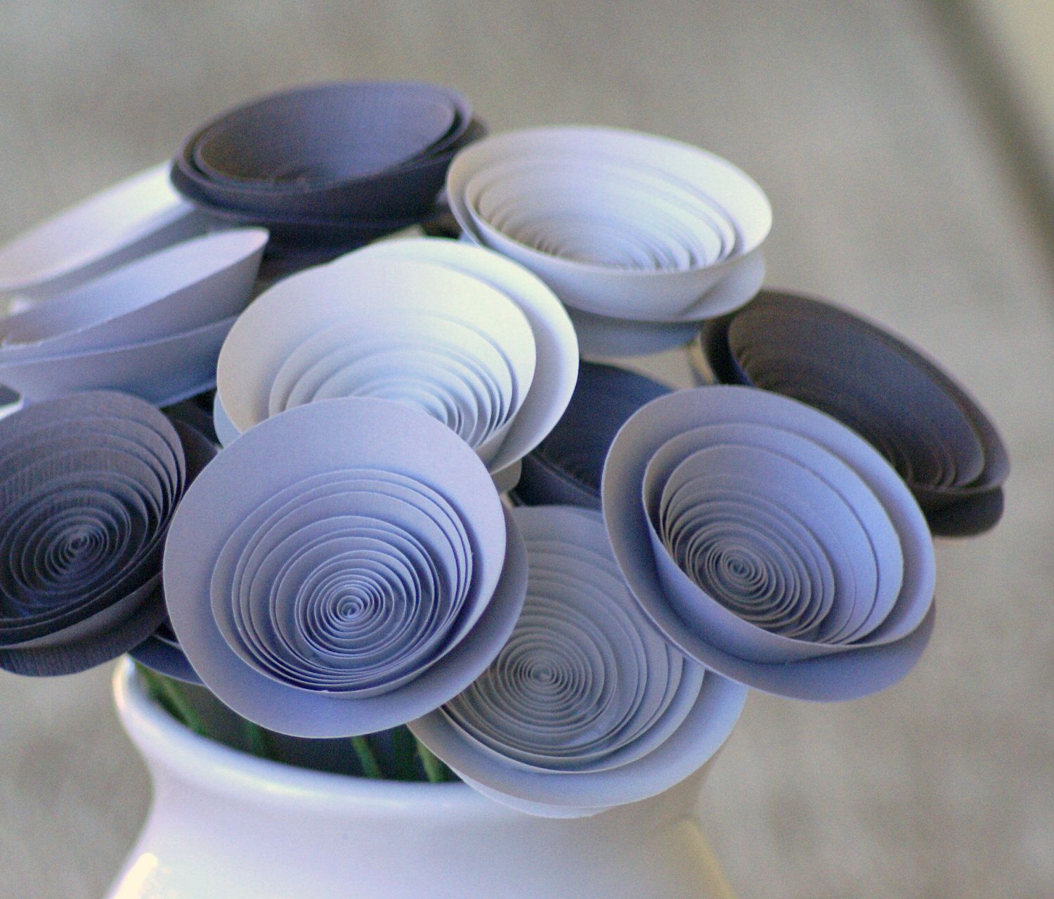 Grey Paper Flowers Table Centerpiece Made With Medium Size Paper
