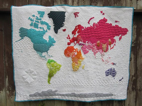 Modern Digital Quilting Patterns : World Map Quilt Pattern Map quilt, Patterns and Fabrics