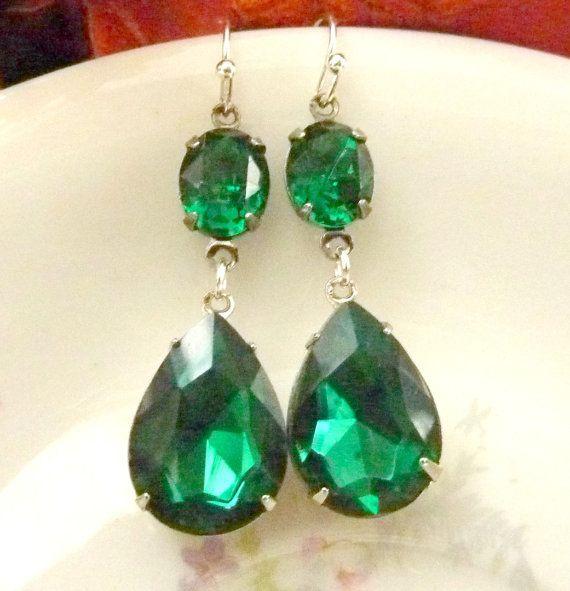Emerald Green Earrings Angelina Jolie Inspired by Dewdropsdreams