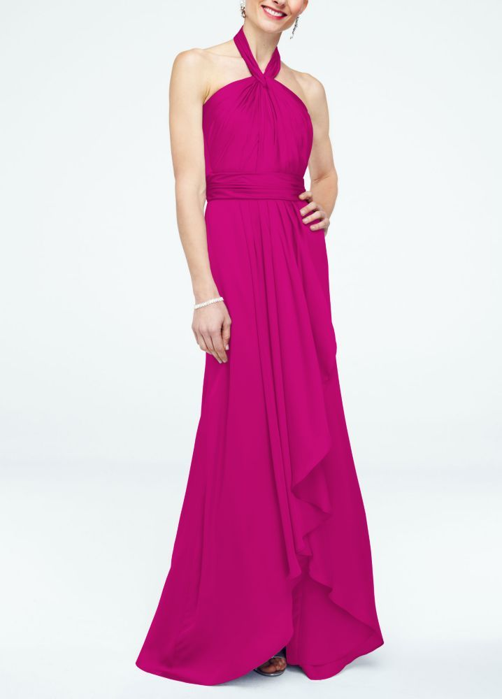 Long Matte Charmeuse Bridesmaid Dress with Y Neckline - Begonia ...