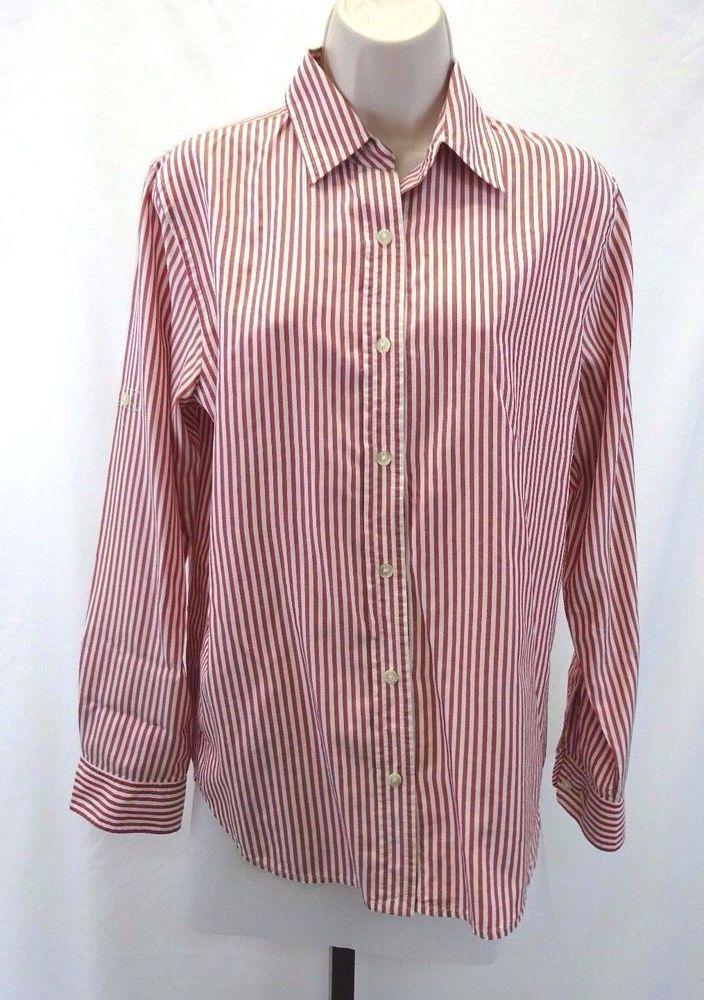 LAUREN RALPH LAUREN LRL Red White Striped Button Down Shirt ...