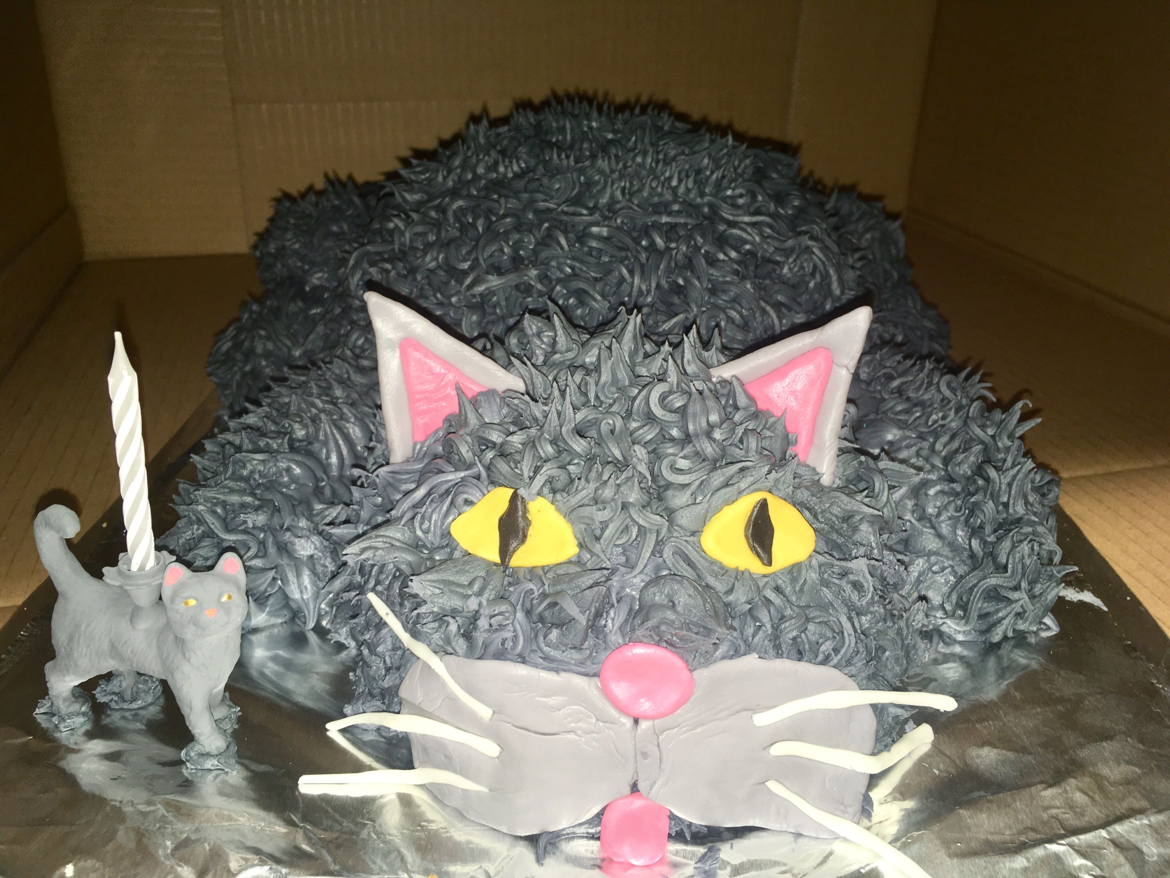 Gray Cat Shaped Birthday Cake Vanilla With Icing 10 Hemisphere