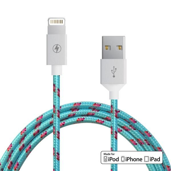 Le Mfi Lightning Cable For Ipod Iphone Or Ipad Reinforced Aluminum Shielding On The Usb And Connectors Rugged Tangle Proof Stylish Fabric 5 Feet In