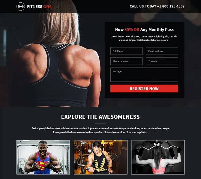 Fitness Landing Page Designs To Promote Your Fitness Club Gym Etc Added To Buylandingpagesdesign Com Want To Capt Landing Page Design Landing Page Page Design