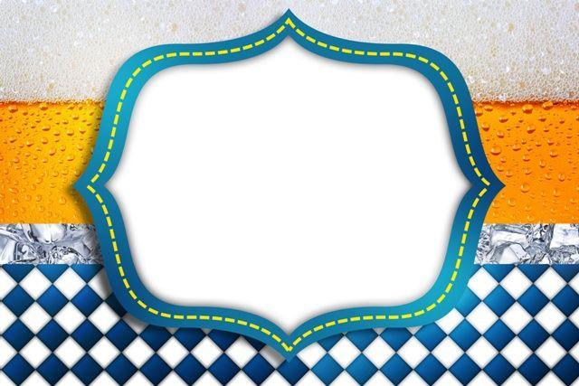 Kit Completo Digital Fundo Cerveja E Quadriculado Azul Banderines