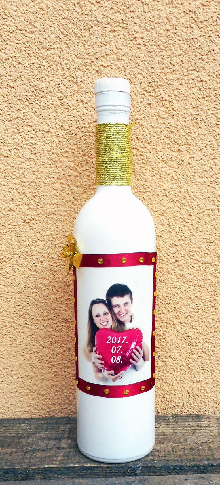 Kézzel készült szülőköszöntő pálinkás üveg saját fényképpel