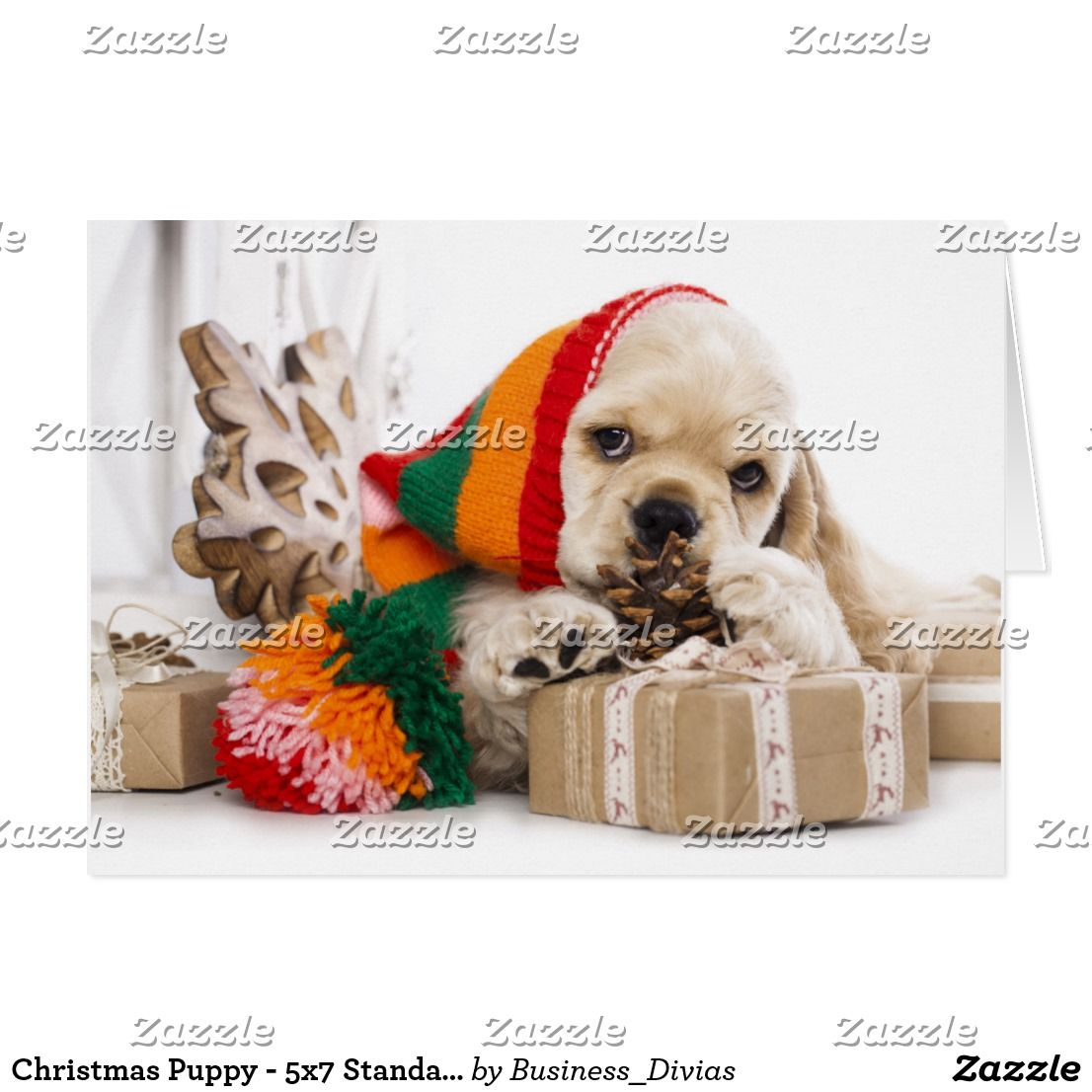 Christmas Puppy - 5x7 Standard Card | Christmas puppy, Christmas ...