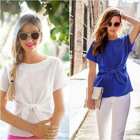 2018 Womens Tops and Blouses Blusa Feminina Summer Chiffon Blouse Short Sleeverricdress #chiffonshorts