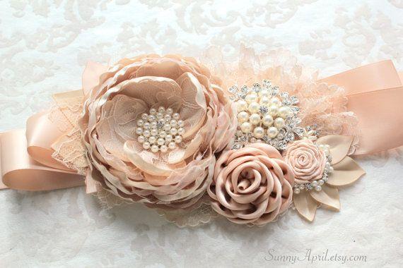 Champagne Beige Blush Sash Melinda Bridal Wedding by SunnyApril