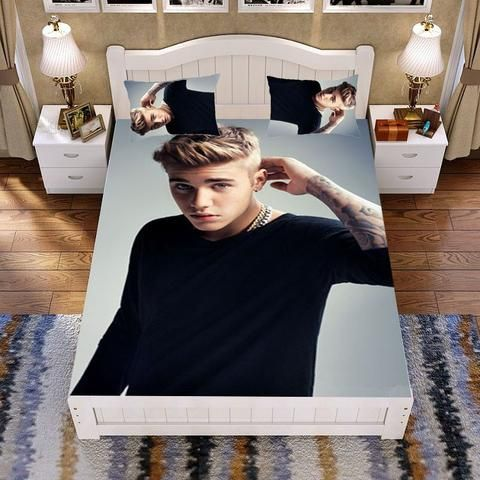 Justin Bieber Customised Han Cotton Bed Set Bed Sack Bed Sheet