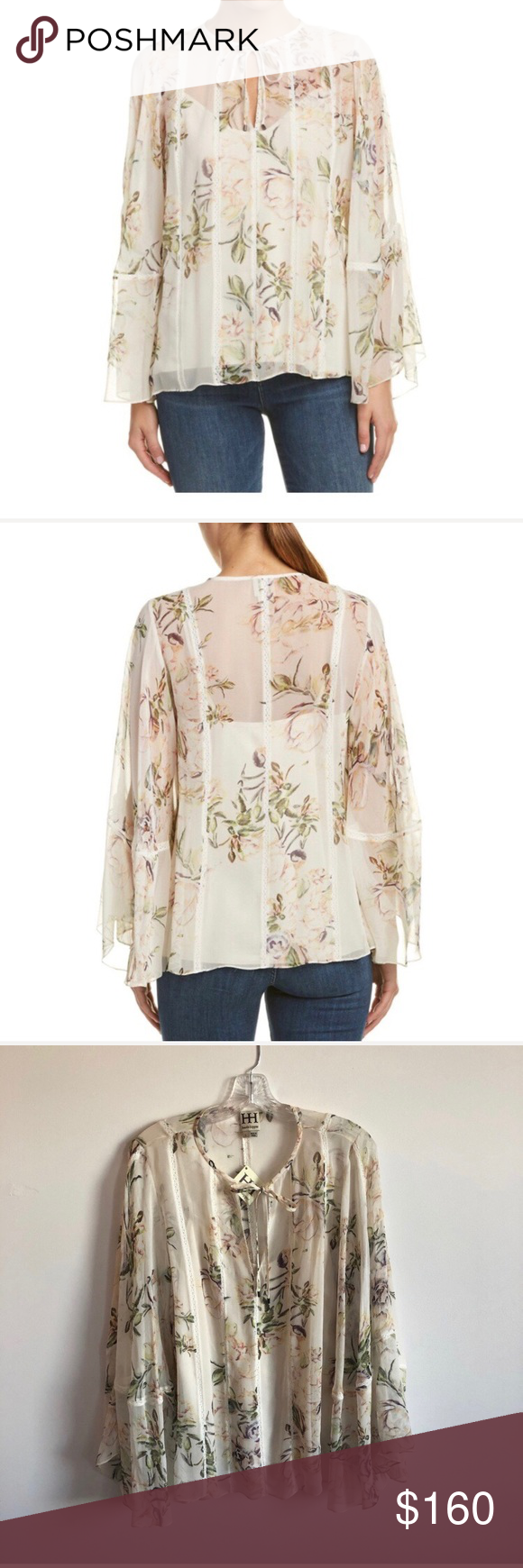 "104269446ba96 NWT Haute Hippie Winds Of Change Silk Blouse L- 24"" Floral Print Design  With Lace Ribbon Inserts"