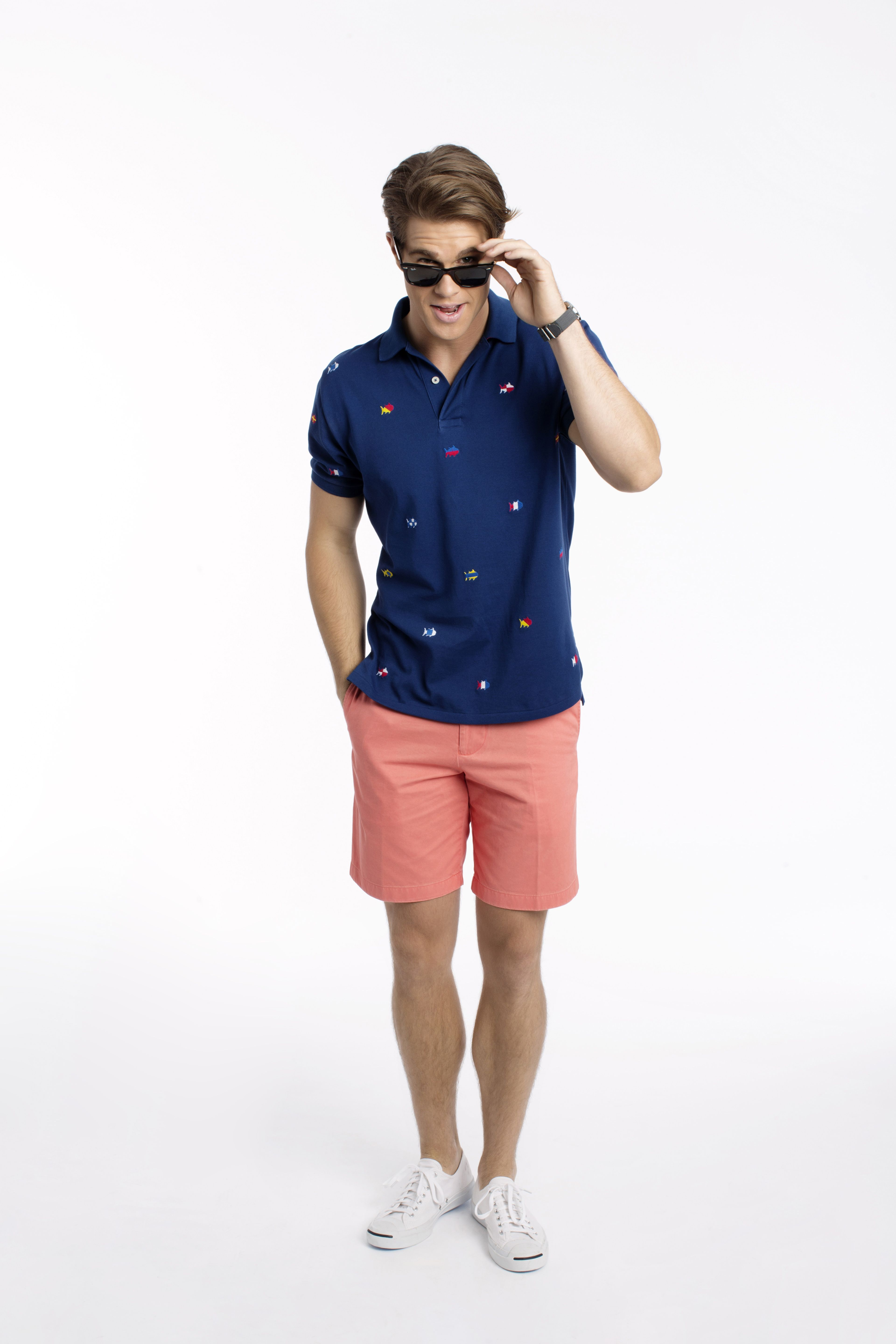 The Nautical Embroidered Skipjack Polo And The Skipjack Short In Fusion Coral Mens Shorts Outfits Polo Shirt Outfit Men Polo Shirt Outfits [ 5760 x 3840 Pixel ]