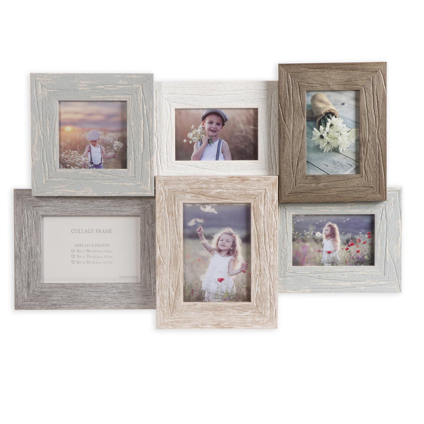 Give Wall Displays A Chic Look With This 6 Photo Collage Frame The Durable Wood Construction Ensure Collage Frames Framed Photo Collage Collage Picture Frames