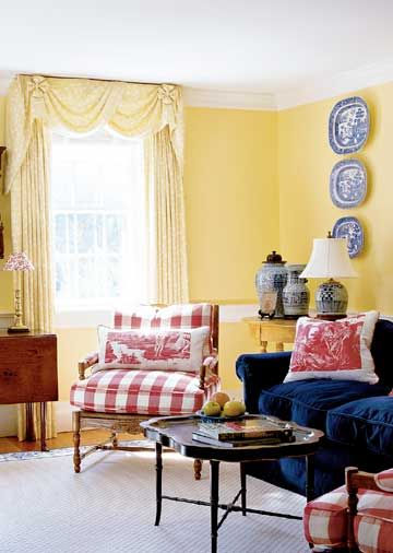 French country yellow living room with red and blue accents also twist pinterest rh