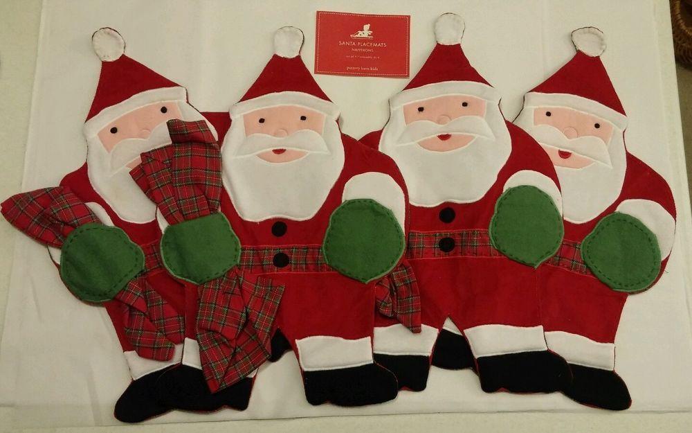 POTTERY BARN KIDS 8-PC SANTA CLAUS NAPKINS & PLACEMAT SET RED PLAID CHRISTMAS #PotteryBarnKids