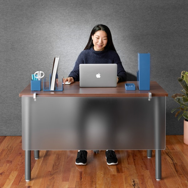 Translucent Modesty Panel Modern Office Furniture Poppin In 2020 Office Furniture Modern Paneling Privacy Panels