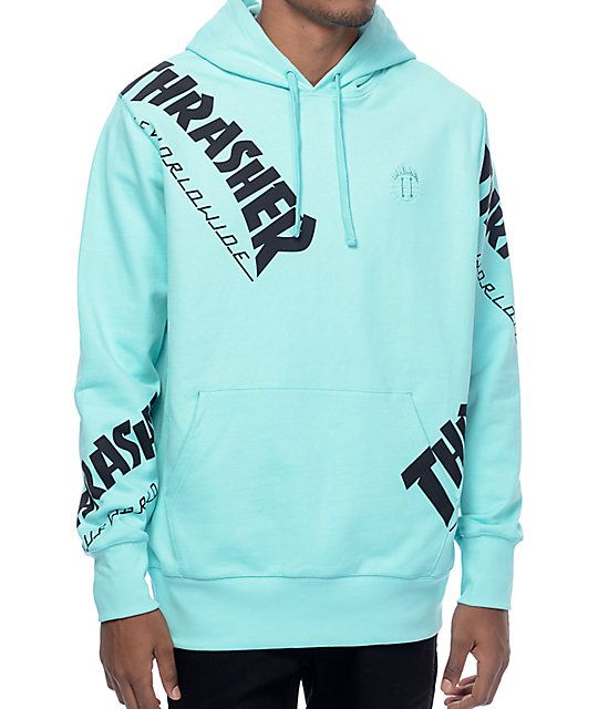 1dacb6d8357 Part of the limited edition HUF x Thrasher Tour De Stoops collaboration  collection. Pullover sweatshirt features a lightweight French terry lining  and all ...