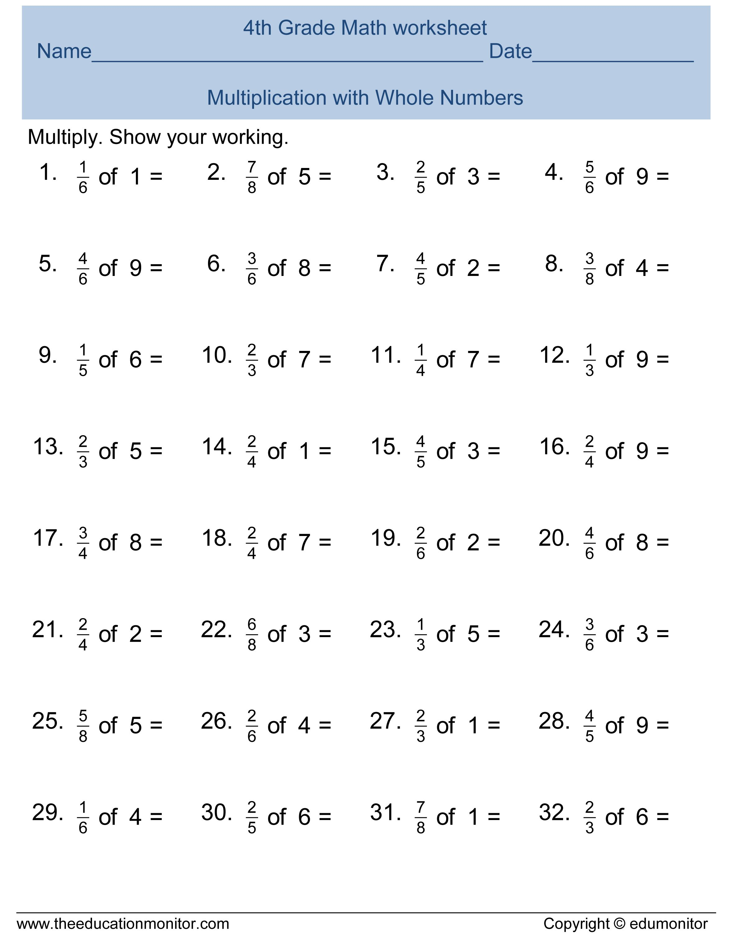 Image Result For Fractions Worksheets Grade 4