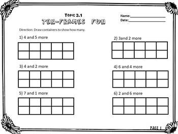 Envision Math Topic 3.1- Representing Numbers on A Ten Frame | Math ...