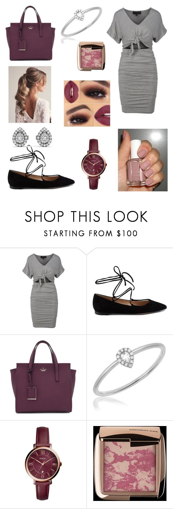 """""""Fancy Dinner Date"""" by emilys-closet17 ❤ liked on Polyvore featuring Gianvito Rossi, Kate Spade, Essie, EF Collection, FOSSIL, Hourglass Cosmetics and Anastasia Beverly Hills"""