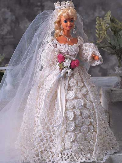 blushing bride crochet pattern linges de barbie au crochet pinterest en fleur mari e et. Black Bedroom Furniture Sets. Home Design Ideas