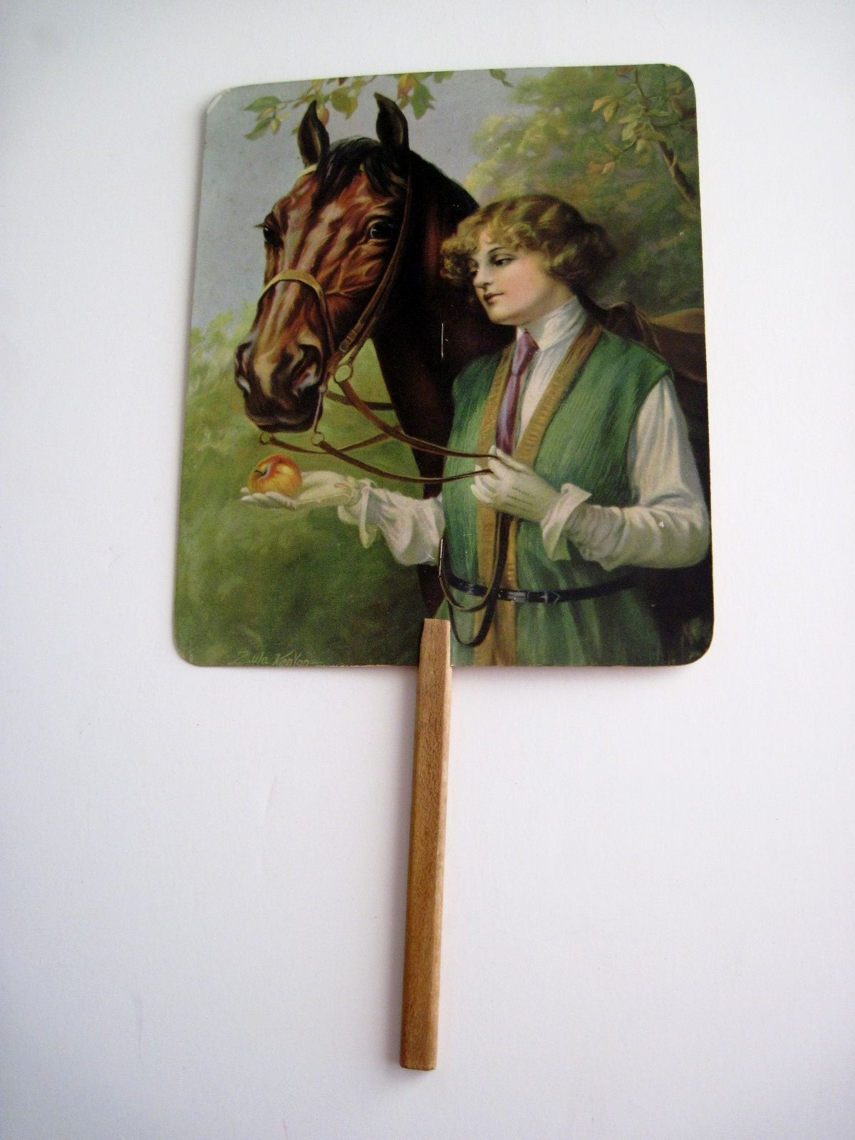 """Stunning Vintage Advertising Fan of """"Horse and Woman"""" by Zula Kenyon   eBay"""