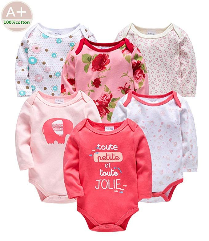 Kavkas Infant Baby Girl Bodysuit Cotton Long Sleeve 0 3 Months Newborn Outfits Girls Bodysuit Baby Boy Outfits