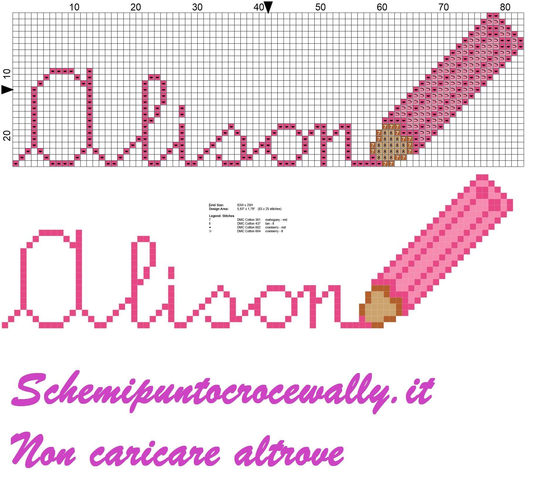 Alison nome con matita colorata schema punto croce nomi for Nomi in corsivo gallery