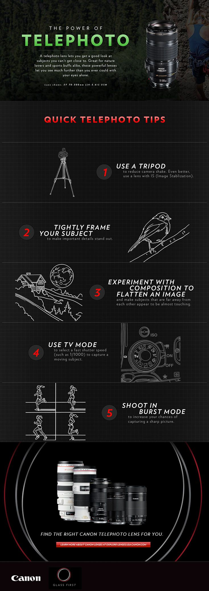 Check out these telephoto lens quick tips from Canon! You'll find a few easy ways to get better nature, sports and people photos.
