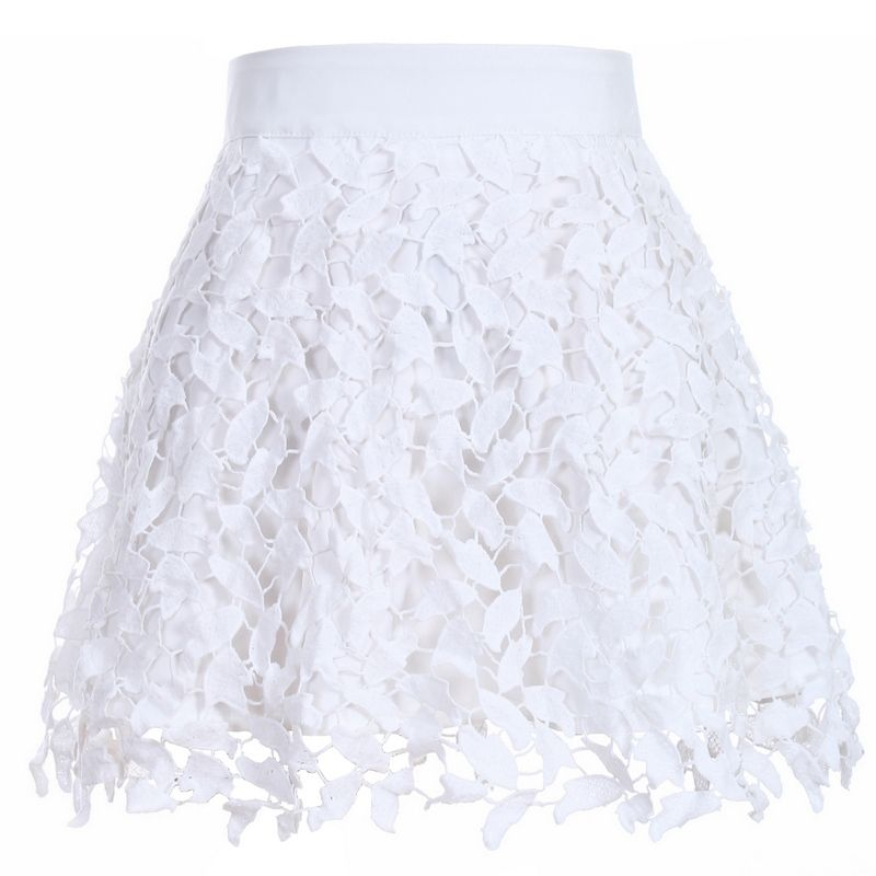 New Arrival Women's Fashion Summer Cute Solid White Lace Skirt ...