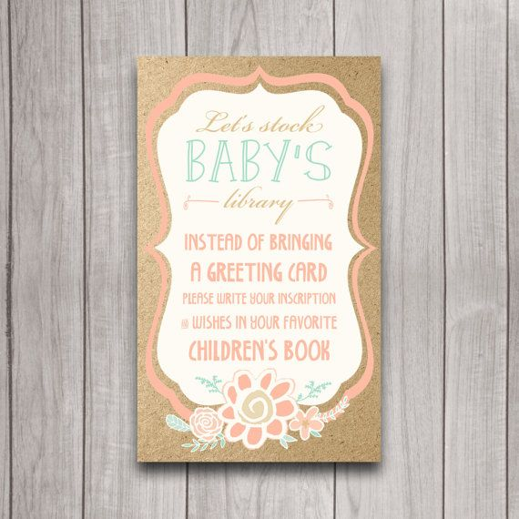 Marvelous Stock The Library Card, Bring A Book Baby Shower Printable With Matching  Invitation, Instead