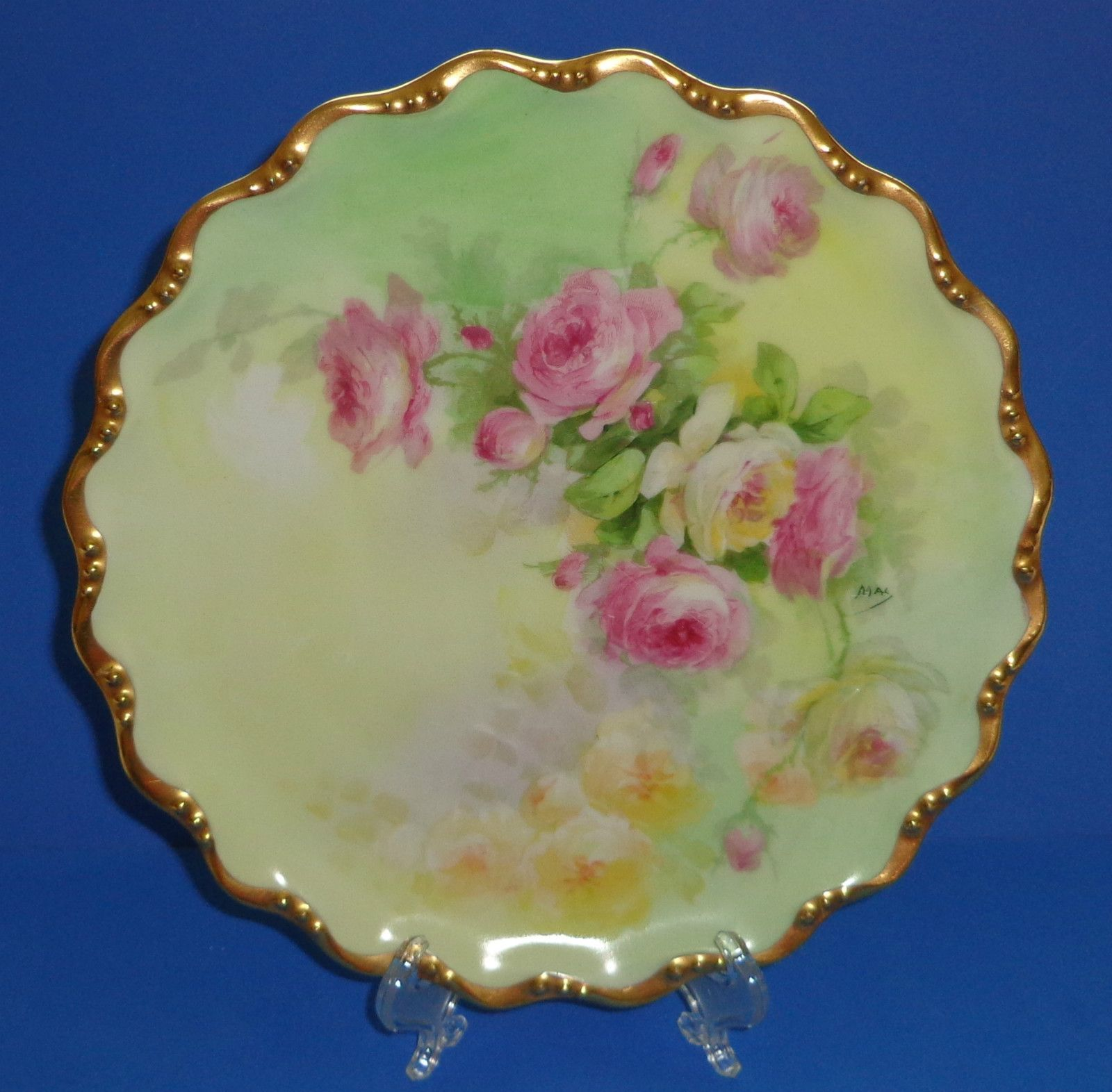 Antique limoges porcelain plate coronet roses hand painted signed ...