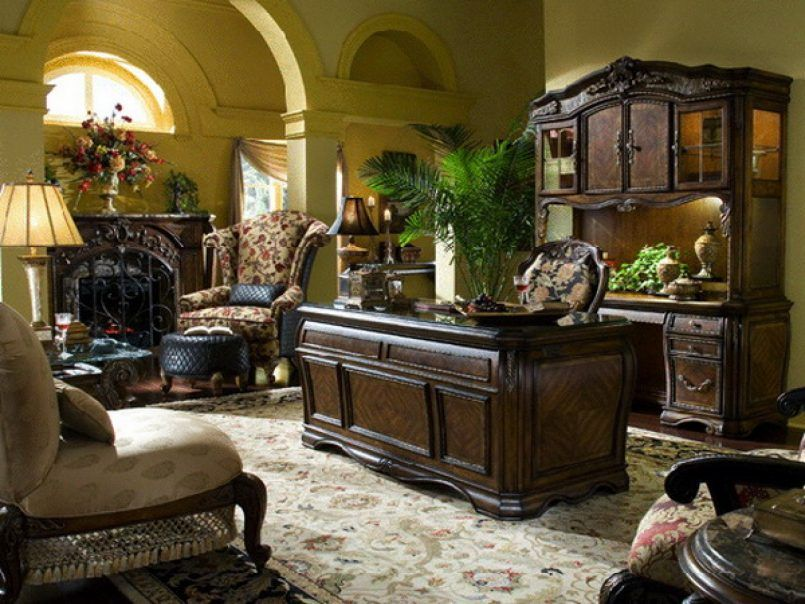 Office Best Home Office With Wide Fireplace And Old Fashioned Wing Chair  Near Classic Desk And