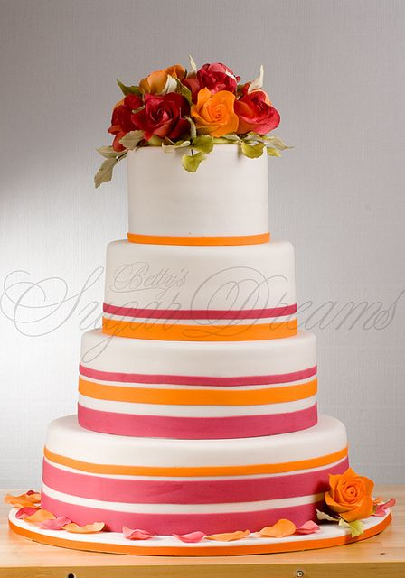 Wedding Cake Eye Popping Pink And Oranges Hochzeitstorte