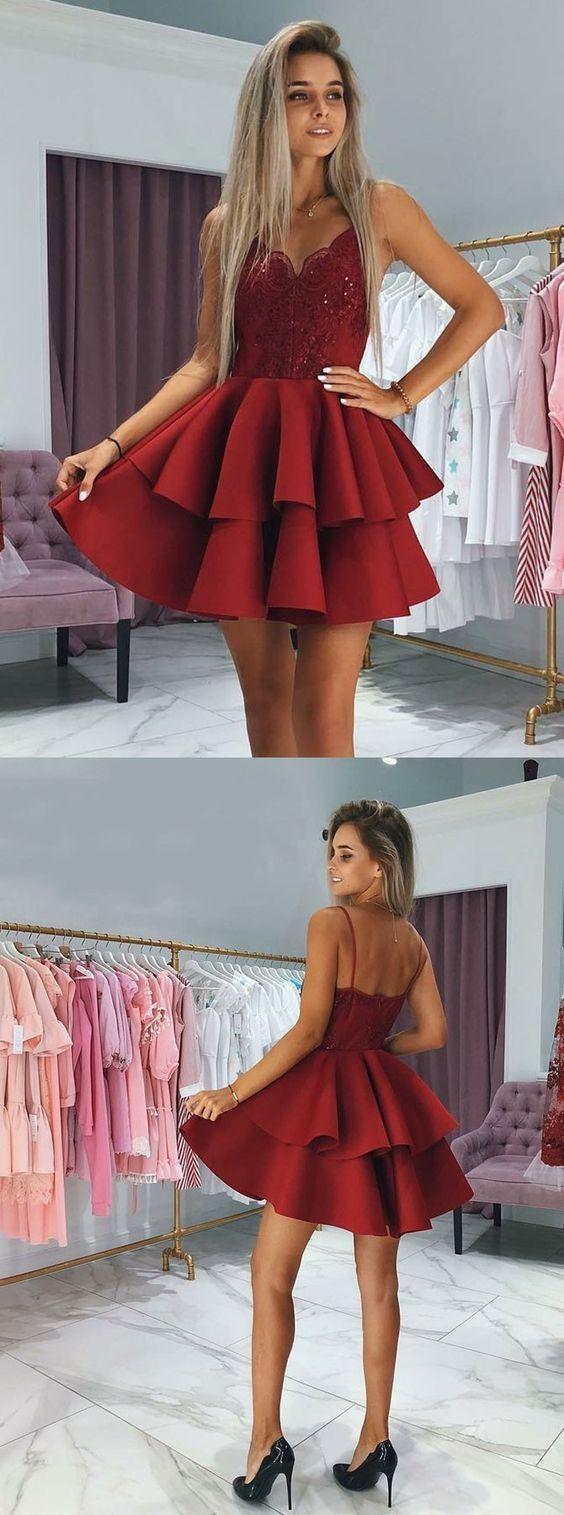 Cute a line v neck spaghetti straps open back burgundy lace short