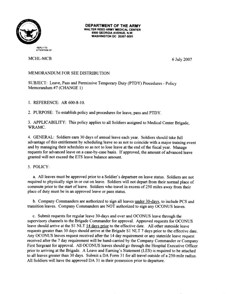 Army Memorandum For Leave Templates At Pertaining To Army Memorandum Template Word Memorandum Template Memorandum Leave Template