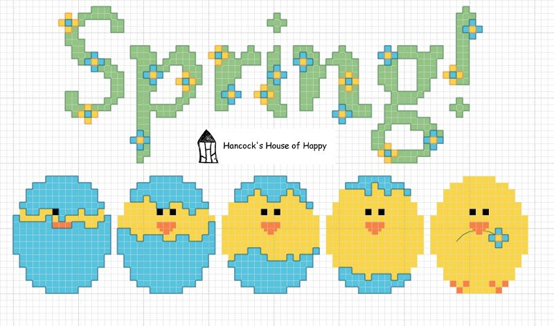 hancock's house of happy: Happy Spring! Free Spring Hatching Chick Cross Stitch Chart