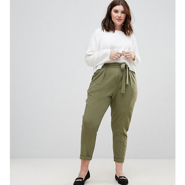debb0237129a ASOS CURVE Woven Peg Trousers with Obi Tie ($14) ❤ liked on Polyvore  featuring pants, capris, green, plus size, high waisted pants, plus size  crop pants, ...