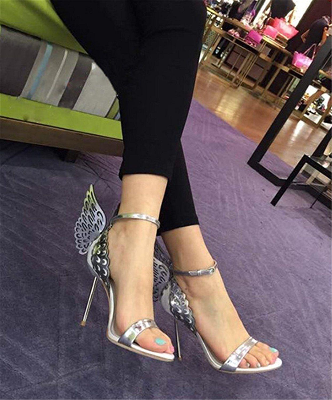 Wealsex Sandales Escarpins Cuir Vernie avec Ailes de papillon Boucles Talon  Dorée Haute Aiguille Cheville Bout Ouvert Chaussure Talon Sexy Ete Femmes   ... 2b80e153c7c3