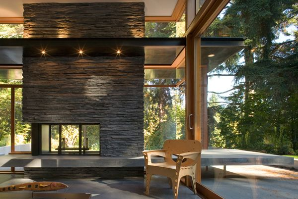 Mid-Century Modern interior. Big windows; very woody.