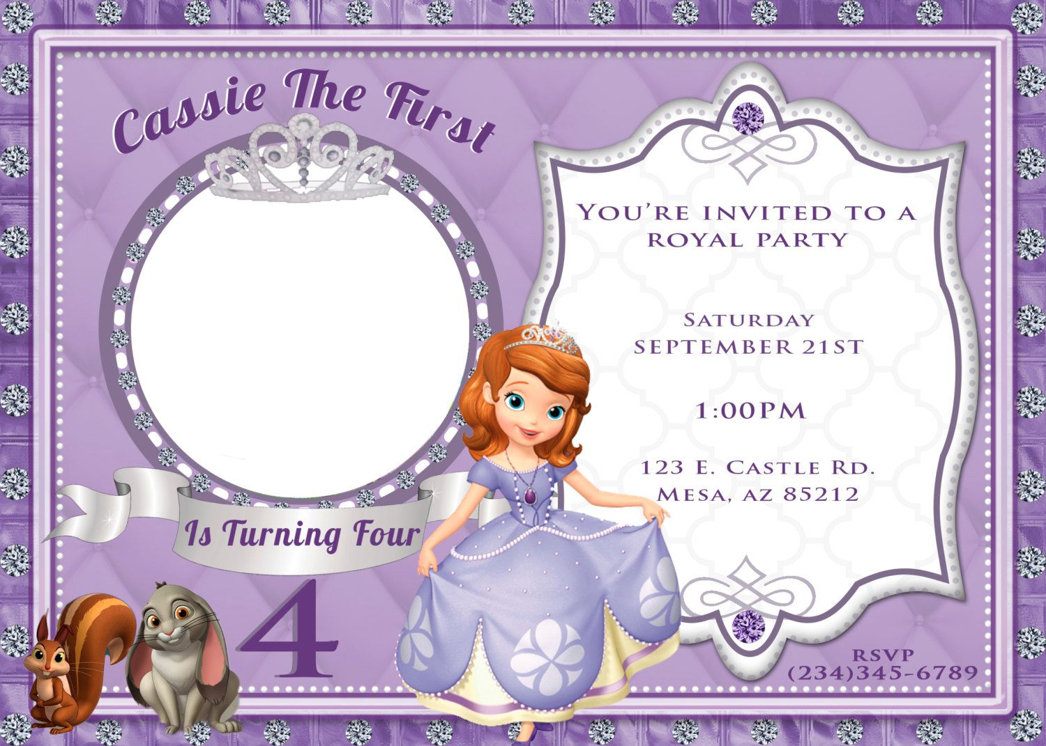 Sofia The First Invitation by 5EVRDesignsBYKristyn on Etsy, $5.5