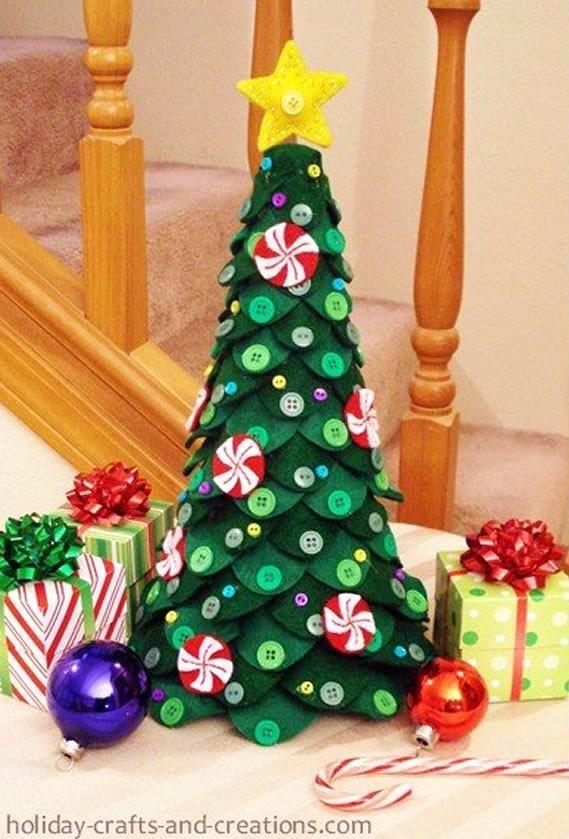 Molde De Arvore De Feltro E Passo A Passo Para Mesa De Natal